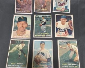 9 Card Lot of Vintage 1957 Topps Baseball Cards from Estate Collection