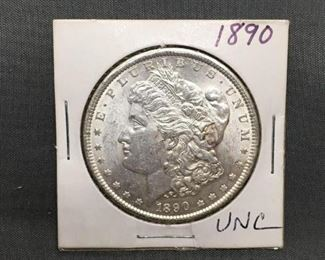 1890 United States Morgan Silver Dollar 90 Silver Coin from Estate Collection