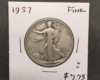 1937 United States Walking Liberty Silver Half Dollar 90 Silver Coin from Estate