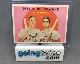 1959 Topps 34 AL KALINE Tigers Pitchers Beware Vintage Baseball Card