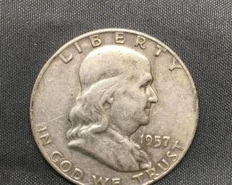 1957D United States Franklin Half Dollar  90 Silver Coin