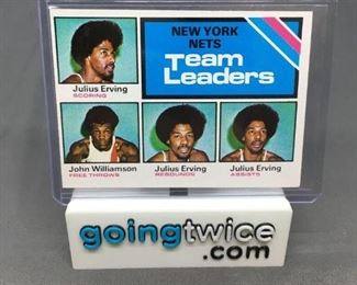 1975-76 Topps #282 JULIUS ERVING Nets Team Leaders Vintage Basketball Card