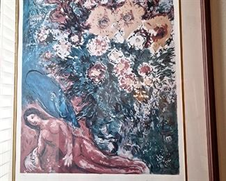 """MARC CHAGALL LITHO """"RED DRESS"""", SIGNED & NUMBERED"""