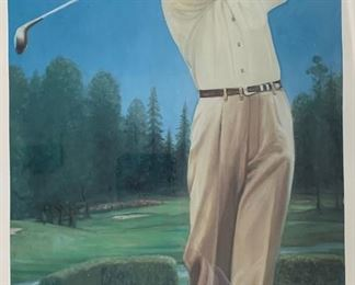 BYRON NELSON ART, AUTOGRAPHED BY NELSON