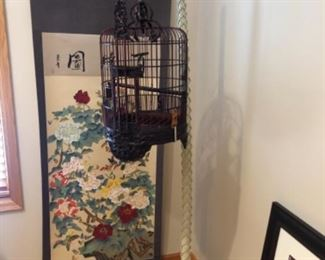 Asian scrolls, antique Asian birdcage and stand