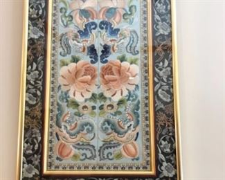 Antique Embroidered Chinese Panel (very ornate, framed and authenticated)