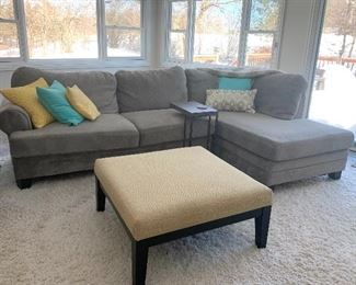 Gray sectional couch - Large pale yellow upholstered ottoman/coffee table w/2 matching smaller ottomans