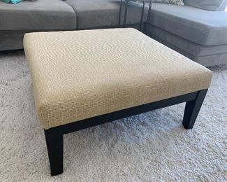 Large pale yellow upholstered ottoman/coffee table w/2 matching smaller ottomans