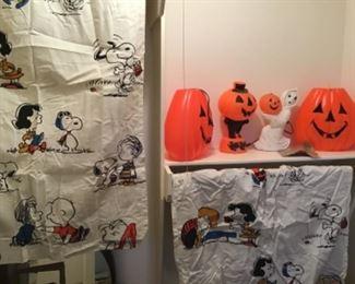 Vintage Charlie Brown Curtains, vintage Halloween Blow Molds