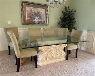 Glass top table with 6 chairs 300 obo