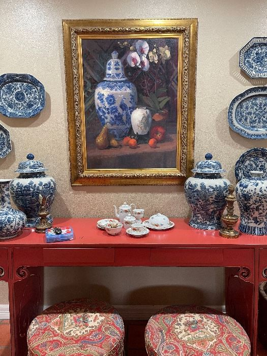 Japanese Chow table with pierced sides. Also shown: cushioned stools, framed art, Chinese blue & white porcelain.