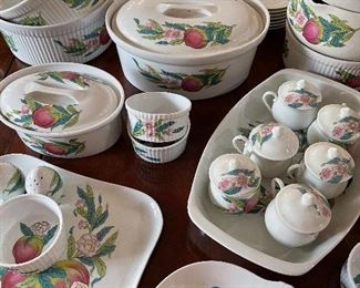 French porcelain serving mega set! Originally sold at Saks Fifth Avenue, many with original tags. Lovely!