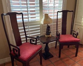 2 of 8 mahogany dining chairs.