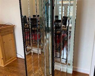 4 panel bevelled mirror room divider / screen