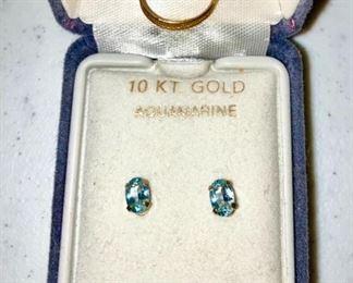 10K gold aquamarine earrings, 10K gold child's ring