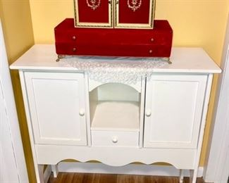 Vintage felt covered jewelry box, painted storage/display stand