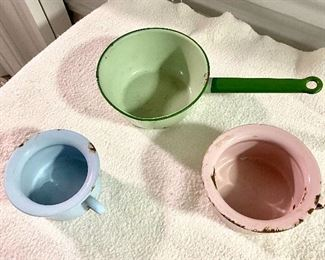 7.Enamel Ware pink/blue/green  (3 pieces)$36