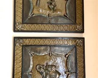 "8.Pair of square elephant & monkey composite 18"" sq $30"