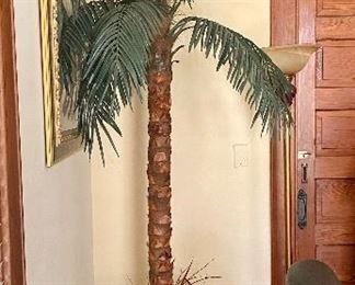 14.Wicker basket Palm tree artificial 7'H $80