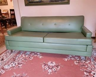 Retro Green Vinyl Couch/Hideabed