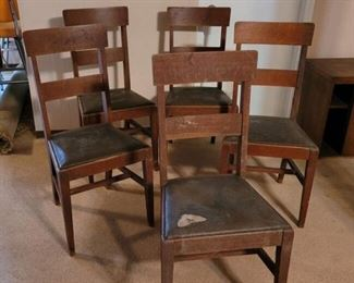 Four Antique/Vintage Chairs with Leather Seats
