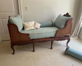 rare double cane antique chaise lounge