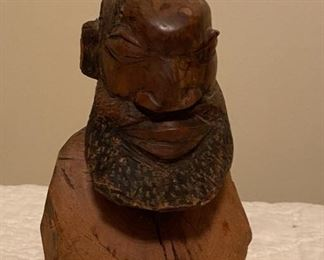 Interesting Carved Wooden Bust