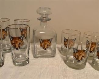Red Fox Decanter and Glassware
