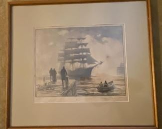 'Making Port'  Lithograph  Gordon Grant