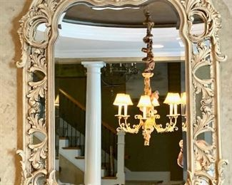 """Carved mirror - 43""""w x 54"""" h. Beveled."""