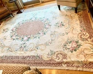 """Needlepoint rug 8'3"""" x 9'8"""" - very good condition."""