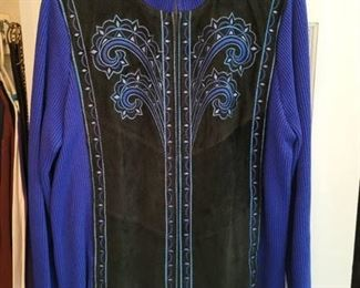 Royal Blue and Leather Bob Mackie Zip Up Jacket Size Large