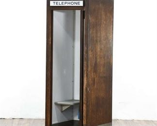 Large, Heavy 1960 Airport Telephone Booth With Phone