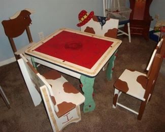 Children's wood table with chairs & benches.