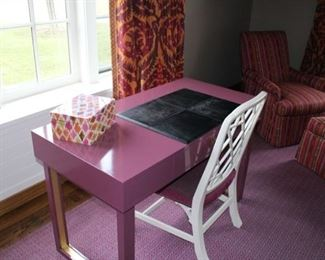 Multi-colored lacquered keepsake box $40 .  Plumb lacquered custom made desk, now $200!! She paid $3,270.