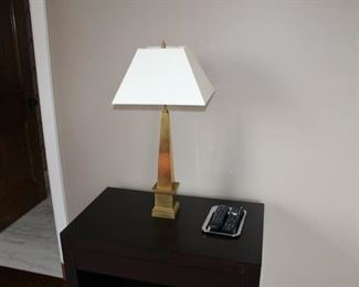 There are 2 black side tables at $200 each.  Very heavy and very well made. Brushed brass heavy lamp $175.  Cost was $1,640.00