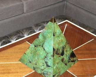 1 of 3 Malachite like pyramids Set of three