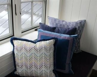 Custom-made Pillows are priced separately for each based on fabric size and trim.Pillows drastically reduced!