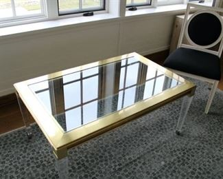 Brass and glass table with lucite legs. $1,500 REDUCED TO $600!!!