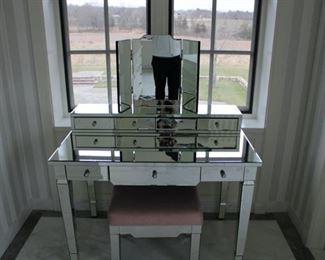 Mirrored Vanity and bench $1,200 PLEASE MAKE AN OFFER. BENCH CUSTOM MADE AND CUSTOM UPHOLSTERED by Alexa Hampton.