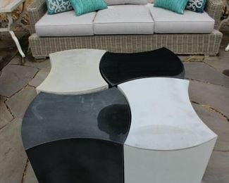 Contemporary black and white outdoor table $250 on sale today! 2/17/2021 LOWERED TO $125. THERE ARE TWO OF THESE JIG SAW TYPE TABLES!
