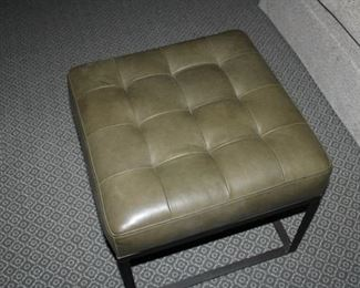 1 of 2 available Ogden leather tufted ottoman with metal base. SEE REDUCED PRICE!