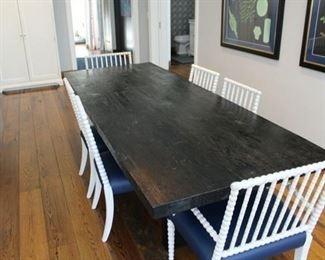 Table only available. The chairs are sold. The table is approximately 10 ft long - $3,200 TABLE ONLY REDUCED TO $950!!! HEAVY AND SOLID!