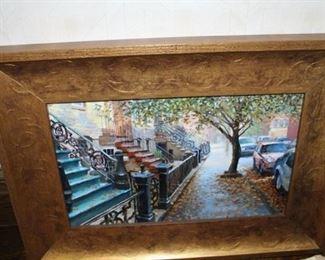 """Original Framed oil on canvas """"Hoboken"""" in a gorgeous frame by Hoboken artist. $650"""