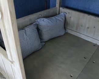 Inside the youth bed cabin for a full-size mattress.