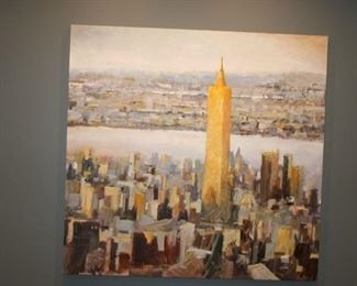 """Original signed oil on canvas, """"The Freedom Tower"""" 5 ft x 5' 6"""". $3,200"""