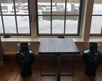 2 Tall black vases by Williamsanoma