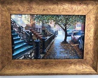 "Hoboken artist, original work on canvas, beautifully framed ""Hoboken Streets"""