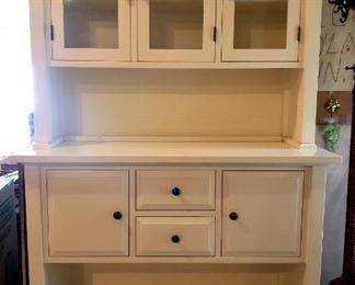 Item 584:  Crate and Barrel White Display Cabinet with Storage:  $425