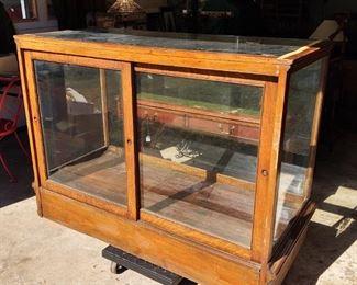 Antique Oak Wood Showcase